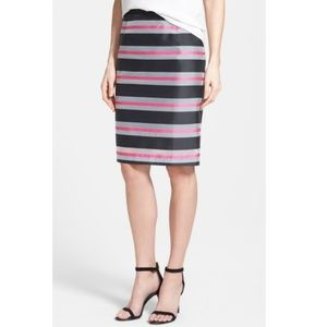 Halogen Organze Stripe Pencil Skirt